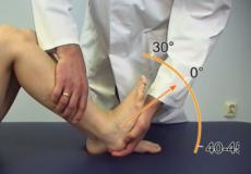 Demonstration der Untersuchung des Sprunggelenks in einem Lernvideo